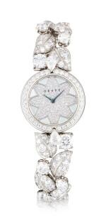 'Graff Leaf' Reference GL25WGDDDD, Limited Edition White Gold and Diamond-Set Wristwatch, Number 1   格拉夫  Graff Leaf編號GL25WGDDDD,限量版白金鑲鑽石腕表,編號1,約2010年製