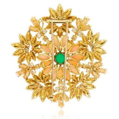 View 3. Thumbnail of Lot 47. Coral, enamel, chrysoprase and diamond brooch, 1960s.