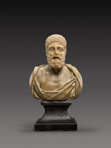 View 1. Thumbnail of Lot 94. A Roman Marble Head of a Man, circa 2nd Century A.D., on later shoulders.