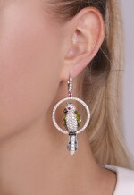 Pair of gem set, onyx and diamond earrings, 'Uccellini', Michele della Valle