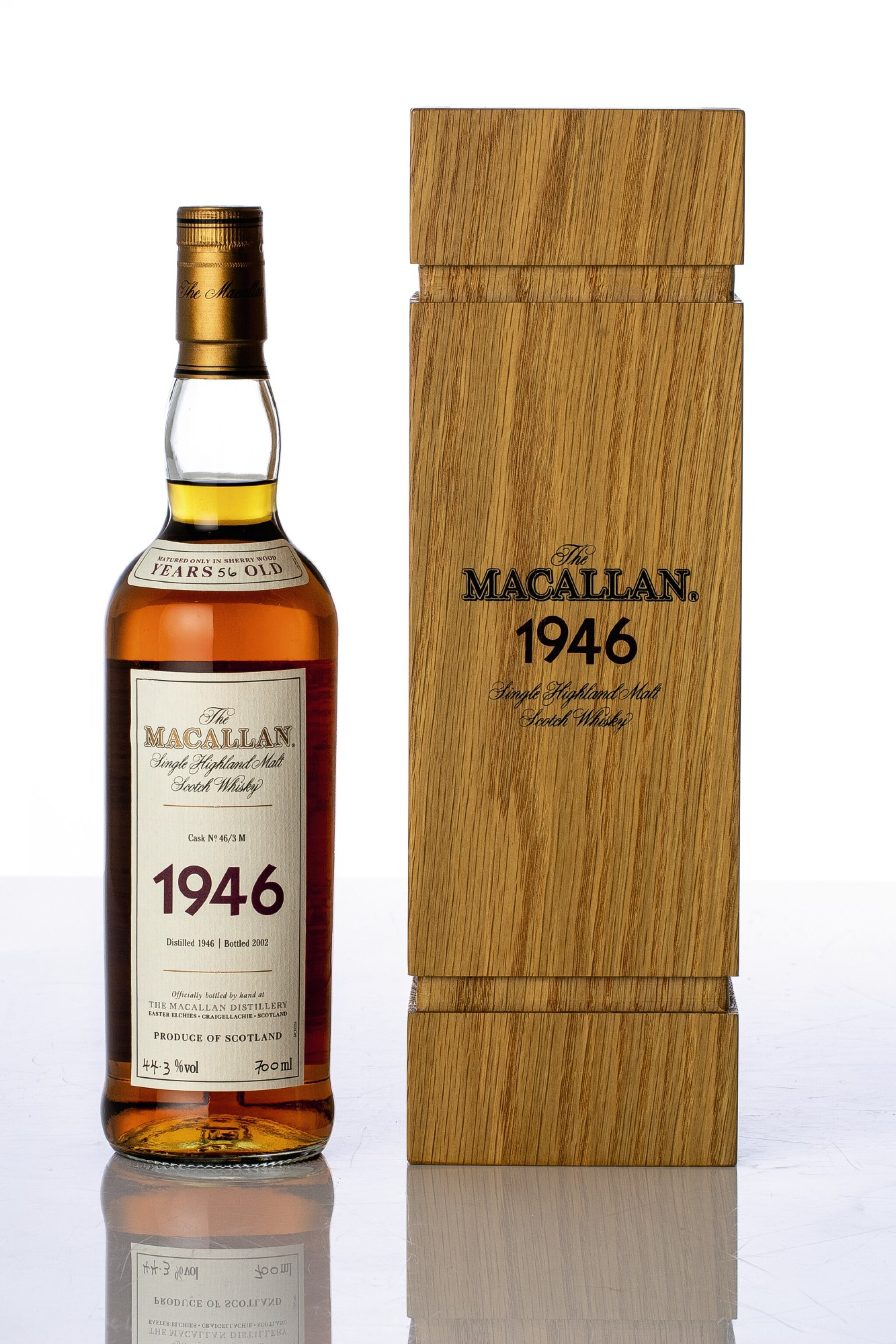 View full screen - View 1 of Lot 5521. The Macallan Fine & Rare 56 Year Old 44.3 abv 1946 (1 BT70).