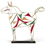 AMERICAN WELDED AND PAINTED WIRE AND SHEET-IRON HORSE SCULPTURE, CIRCA 1950