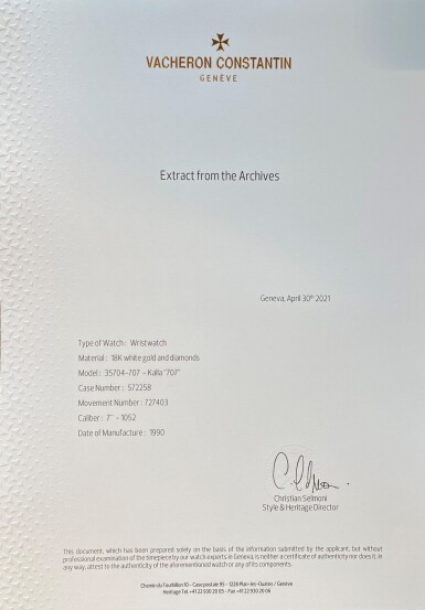 View 9. Thumbnail of Lot 60. Kalla, Ref. 35704-707G White gold and diamond-set bracelet watch Made in 1990 | 江詩丹頓35704-707G型號「Kalla」白金鑲鑽石鍊帶腕錶,1990年製.