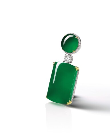 View 2. Thumbnail of Lot 1725. Jadeite and Diamond Pendent Necklace | 天然翡翠 配 鑽石 項鏈.
