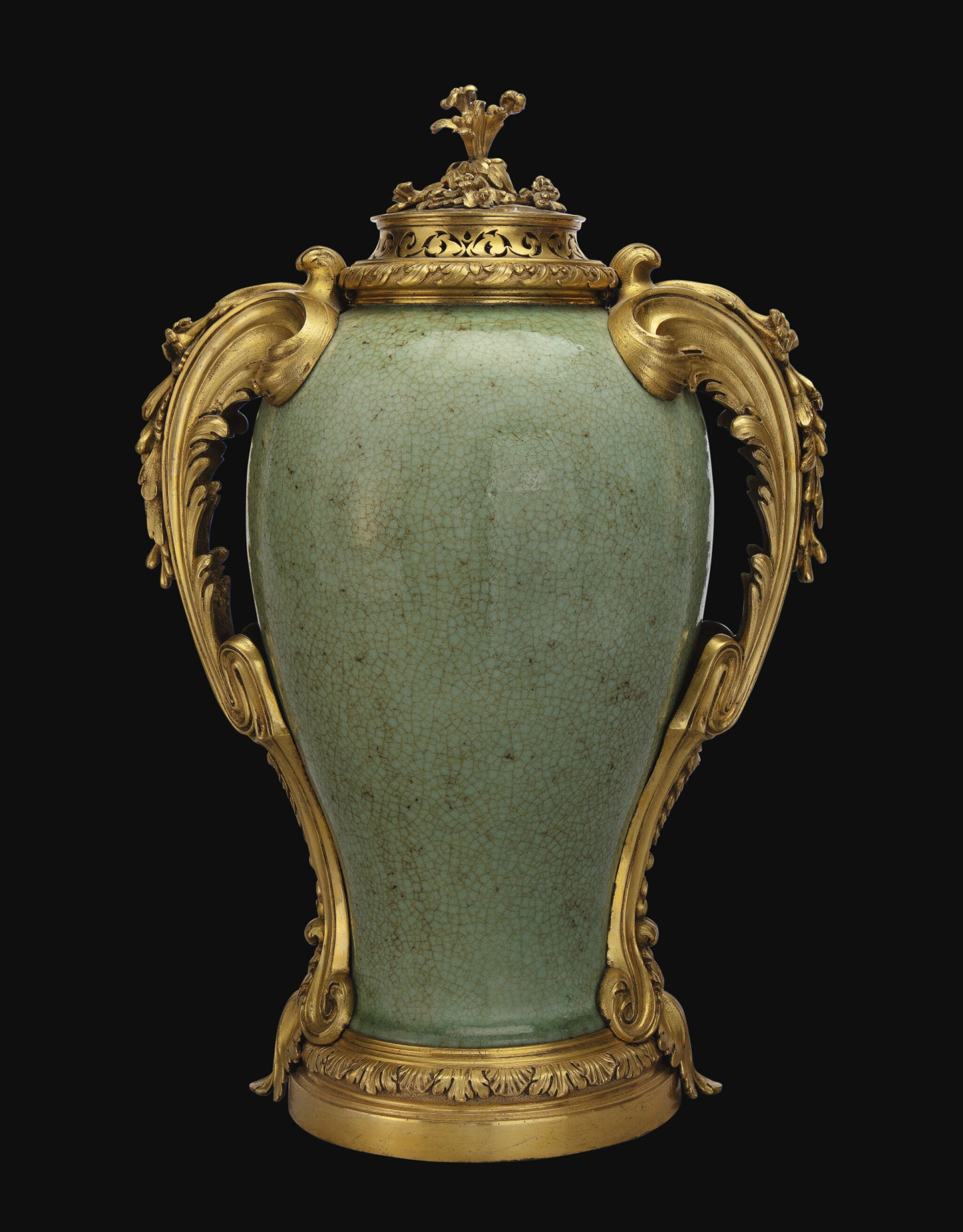 View full screen - View 1 of Lot 774. A LOUIS XV GILT-BRONZE MOUNTED CHINESE CRACKLE-GLAZED CELADON VASE, THE PORCELAIN QING DYNASTY, 18TH CENTURY, THE MOUNTS CIRCA 1760, IN THE MANNER OF DUPLESSIS.