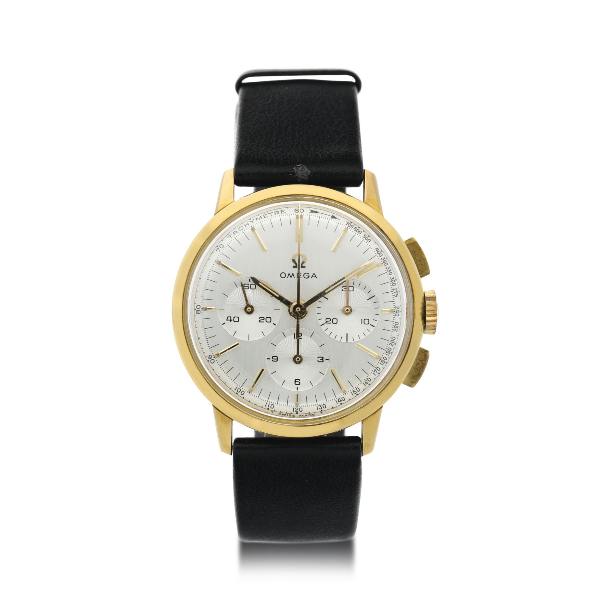 View full screen - View 1 of Lot 40. REFERENCE 101.010 A YELLOW GOLD CHRONOGRAPH WRISTWATCH, CIRCA 1965.
