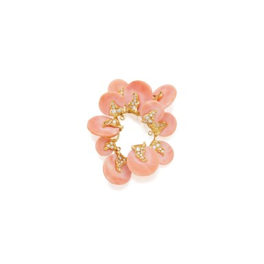 CORAL AND DIAMOND CLIP-BROOCH, CARTIER, FRANCE