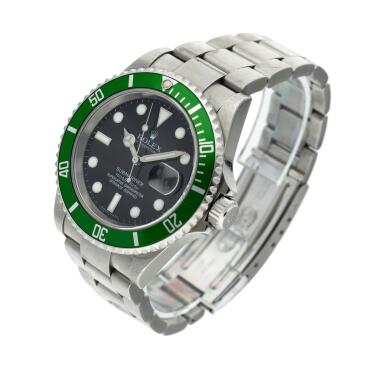 View 2. Thumbnail of Lot 203. Reference 16610 Submariner 'Kermit'   A stainless steel automatic wristwatch with date and bracelet, Circa 2006.