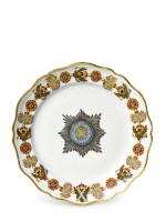A porcelain plate from the service of the Order of St Andrew, Imperial Porcelain Factory, St. Petersburg, period of Alexander II (1855-1881)
