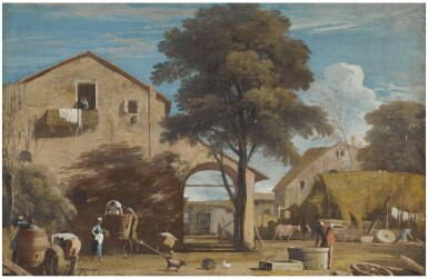 View 1. Thumbnail of Lot 24. MARCO RICCI | LANDSCAPE WITH A COURTYARD WITH RURAL BUILDINGS AND PEASANTS.