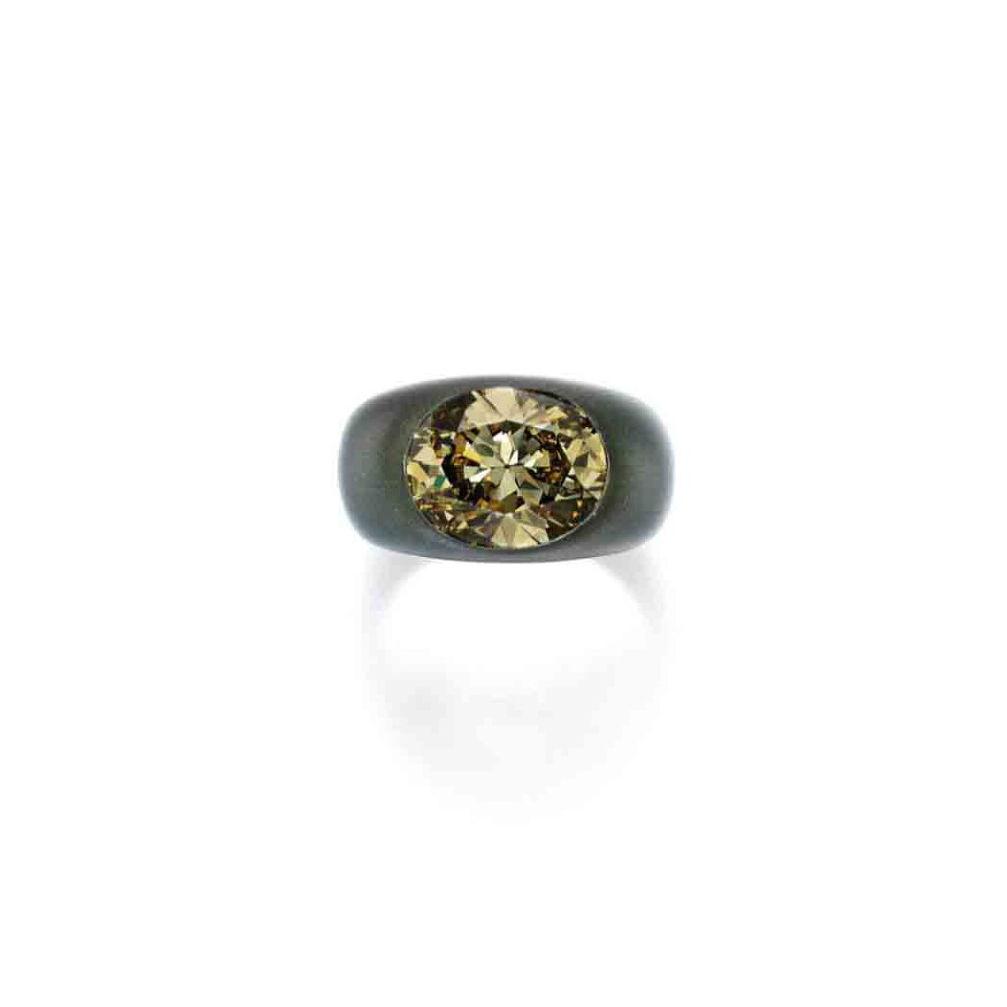 View full screen - View 1 of Lot 201. Aluminum and Fancy Deep Brownish Greenish Yellow Diamond Ring.