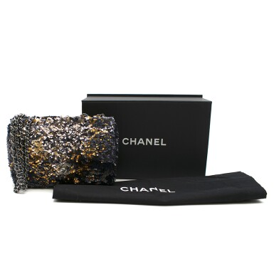 View 2. Thumbnail of Lot 76. Classic Flap Bag in Blue, Silver & Gold Sequin with gunmetal hardware, calfskin trim & nylon lining. Chanel. 2018..