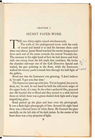 View 5. Thumbnail of Lot 16. FLEMING   Moonraker, 1955, first edition, presentation copy inscribed to Raymond Chandler.