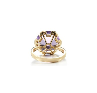 View 3. Thumbnail of Lot 6. AMETHYST AND DIAMOND RING.