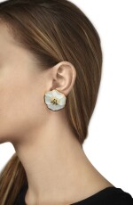 MOTHER-OF-PEARL, BLACK JADE AND CHALCEDONY CLIP-BROOCH AND PAIR OF EARCLIPS, ANGELA CUMMINGS FOR TIFFANY & CO.