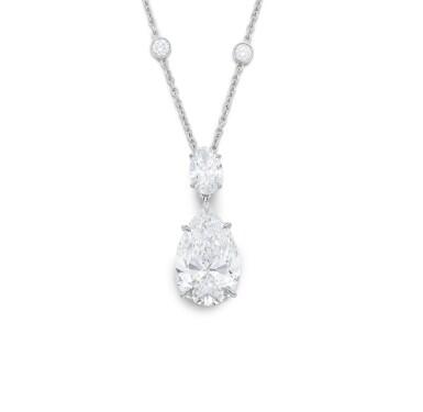View 1. Thumbnail of Lot 1715. Diamond Necklace   蒂芙尼   10.01克拉 梨形 D色 完美無暇 鑽石 項鏈.