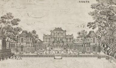 View 22. Thumbnail of Lot 362. A SET OF TWENTY PRINTS OF PALACES, PAVILIONS AND GARDENS AT YUANMING YUAN | 巴黎、1977年 《郎世寧圓明園西洋樓》 一組二十幅 水墨紙本.