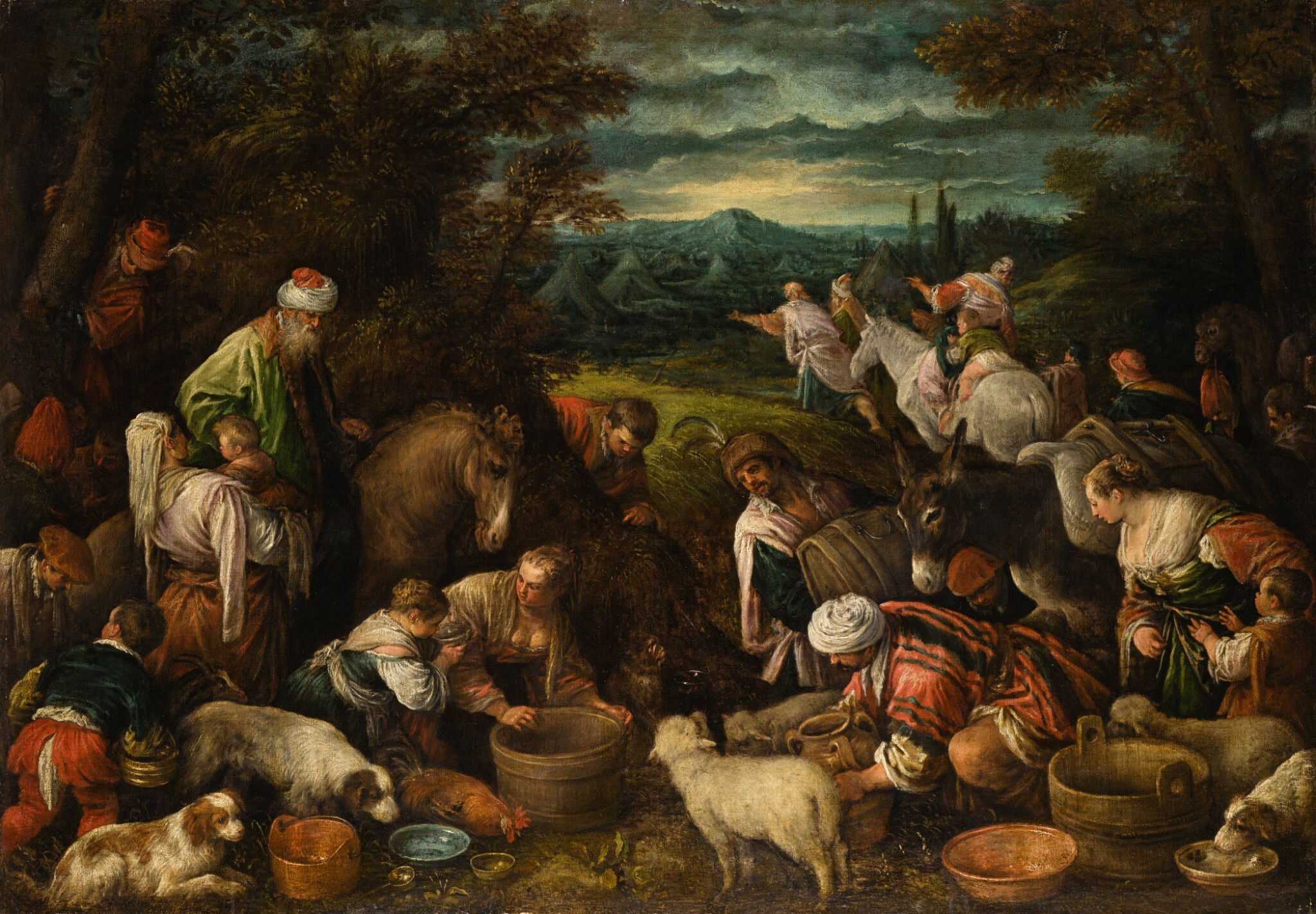 View full screen - View 1 of Lot 8. JACOPO DA PONTE, CALLED JACOPO BASSANO | The Israelites in the Wilderness | 雅各布・達・彭德 - 或稱雅各布・巴薩諾 |《曠野中的以色列人》.