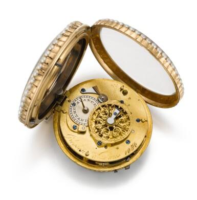 GREGSON, À PARIS [Gregson,巴黎]   A GOLD, ENAMEL AND PEARL-SET QUARTER REPEATING VERGE WATCH WITH SELECTOR FOR BELL STRIKE/DUMB REPEAT   CIRCA 1790, NO. 1056 [黃金畫琺瑯鑲珍珠二問報時懷錶備機軸式擒縱機芯,可選敲鐘或靜音報時,年份約1790,編號1056]