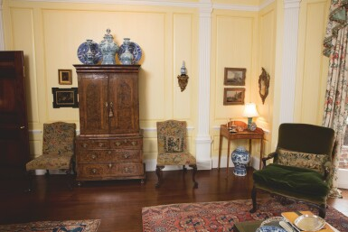 View 4. Thumbnail of Lot 529. A GEORGE I 'MULBERRY' WOOD AND WALNUT CABINET ON CHEST, FIRST QUARTER 18TH CENTURY.