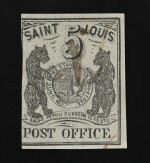 Postmaster's Provisional St. Louis, MO. 1846 5c Black (III) on gray lilac (11X4)