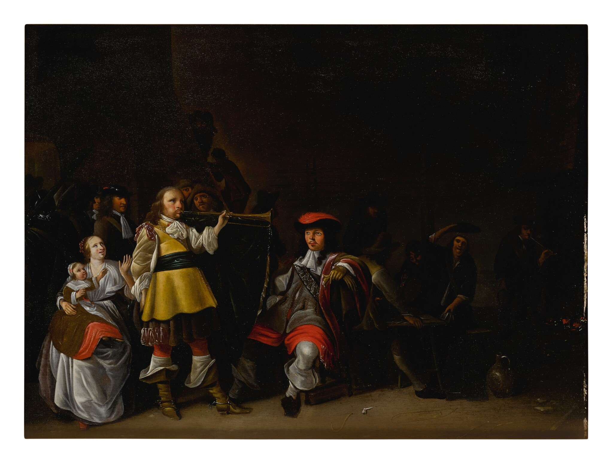 FOLLOWER OF ANTHONIE PALAMEDESZ. | A GUARDROOM INTERIOR WITH SOLDIERS