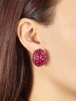 Pair of Ruby and Diamond Earrings | 格拉夫| 紅寶石 配 鑽石 耳環一對 (紅寶石及鑽石共重約33.50及1.80克拉)