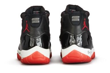 View 9. Thumbnail of Lot 17. Michael Jordan Playoff Game Worn and Dual Signed 'Player Sample' Air Jordan 11 'Bred' | Size 13.5.
