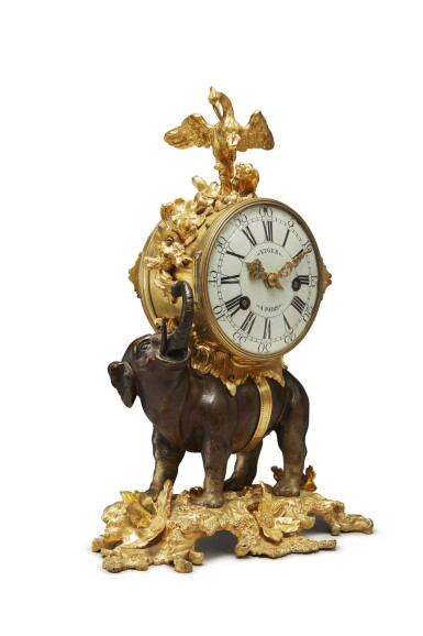 View 2. Thumbnail of Lot 799. A LOUIS XV GILT AND PATINATED-BRONZE PENDULE A L'ELEPHANT, MID-18TH CENTURY .