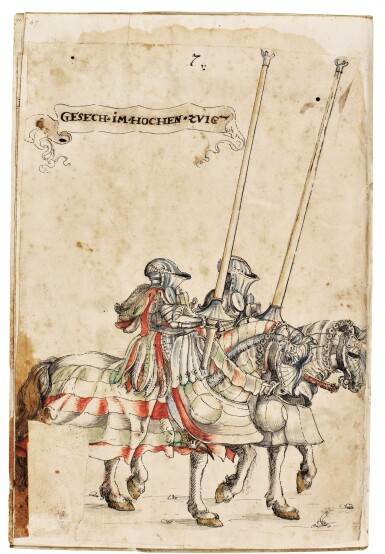 View 7. Thumbnail of Lot 9. WORKSHOP OF HANS BURGKMAIR THE ELDER | A 'TOURNAMENT BOOK', WITH 16 NUMBERED SHEETS OF DRAWINGS OF KNIGHTS, MOSTLY ON HORSEBACK, IN PAIRS .