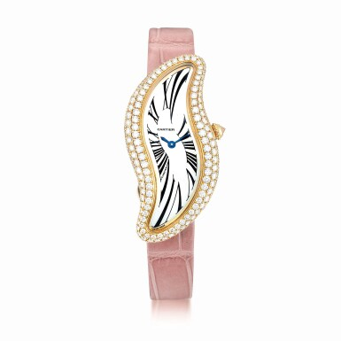 View 1. Thumbnail of Lot 2036. Cartier | Baignoire, Reference 3248, A pink gold and diamond-set wristwatch, Circa 2015 | 卡地亞 | Baignoire 型號3248 粉紅金鑲鑽石腕錶,約2015年製.