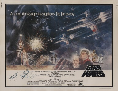 View 1. Thumbnail of Lot 148. Star Wars (1977) poster, US, signed by Harrison Ford, Mark Hamill and a secretarial signature by Carrie Fisher's mother Debbie Reynolds.