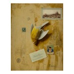 FRANCESCO ALEGIANI   TROMPE L'OEIL STILL LIFE WITH A NIGHTINGALE COCK CANARY AND A TWO PENCE STAMP