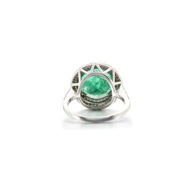 View 3. Thumbnail of Lot 20. EMERALD AND DIAMOND RING.