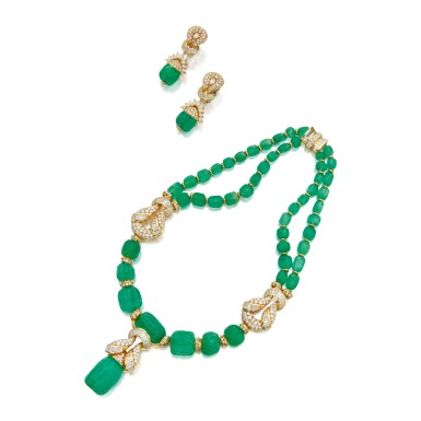 View 1. Thumbnail of Lot 168. EMERALD AND DIAMOND NECKLACE AND PAIR OF EARCLIPS.