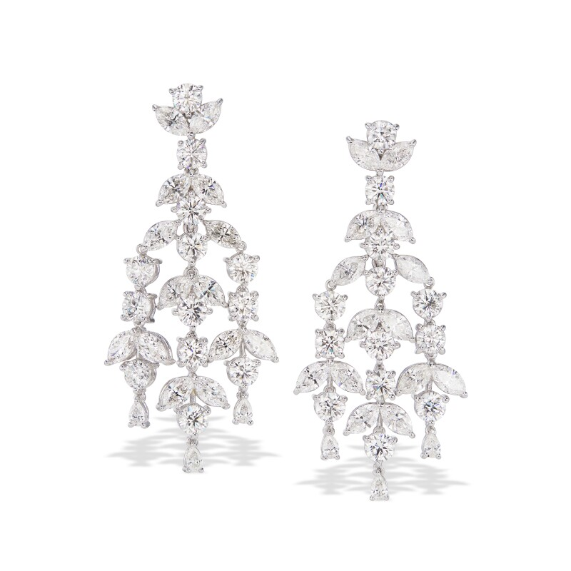 Pair of Diamond Pendant-Earclips