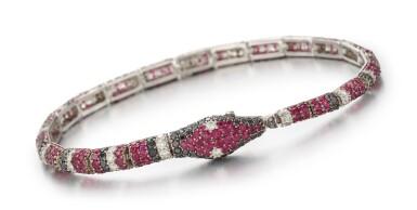RUBY AND DIAMOND BRACELET, MICHELE DELLA VALLE   紅寶石 配 鑽石 手鏈, Michele della Valle