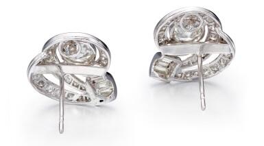 View 3. Thumbnail of Lot 1001. PAIR OF DIAMOND EARRINGS   鑽石耳環一對.