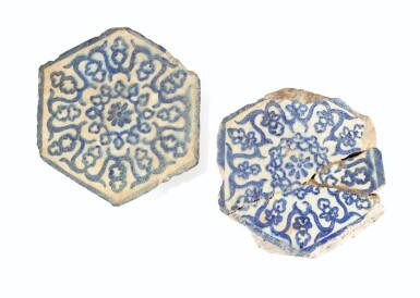 View 9. Thumbnail of Lot 129. Ten Pottery Tile Fragments, Mamluk, Ottoman, Timurid and European, 15th-18th centuries.