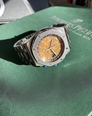 View 6. Thumbnail of Lot 333. 'THE BEAST' ROYAL OAK OFFSHORE, REF 25721ST STAINLESS STEEL CHRONOGRAPH WRISTWATCH WITH DATE, TROPICAL DIAL AND BRACELET CIRCA 2001.