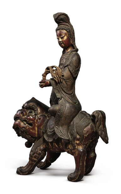 View 4. Thumbnail of Lot 1108. A LARGE LACQUERED AND GILT-WOOD FIGURE OF SIMHANADA AVOLOKITESHVARA,  LATE MING / EARLY QING DYNASTY.
