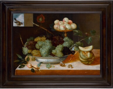 View 2. Thumbnail of Lot 137. Still life with grapes in a porcelain dish and peaches on a tazza, with melons and snails.