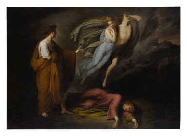View 1. Thumbnail of Lot 23. STYLE OF ARY SCHEFFER | DANTE AND VIRGIL MEET FRANCESCA DA RIMINI AND PAOLO MALATESTA.