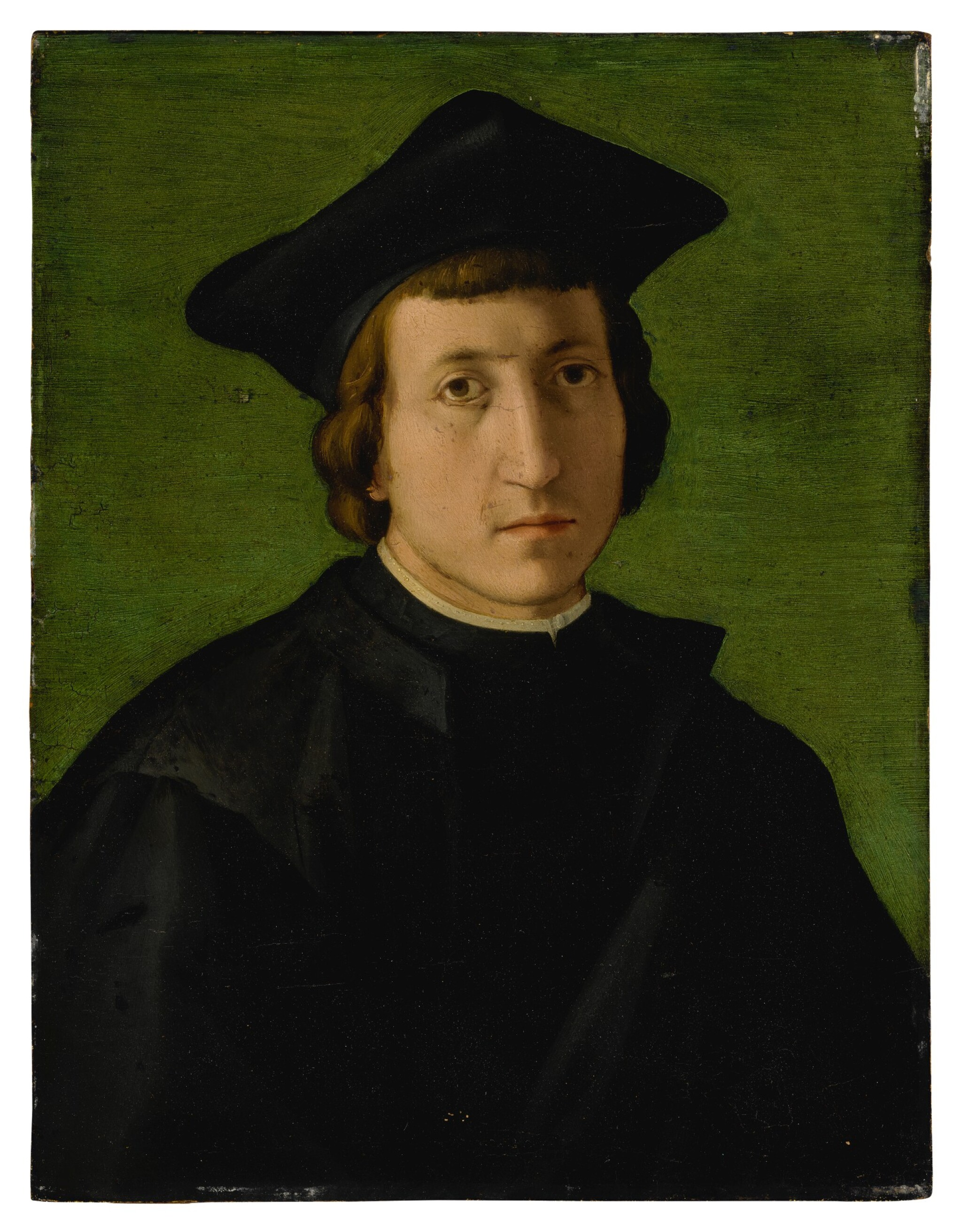 View full screen - View 1 of Lot 561. Portrait of a man in a black hat, bust-length.