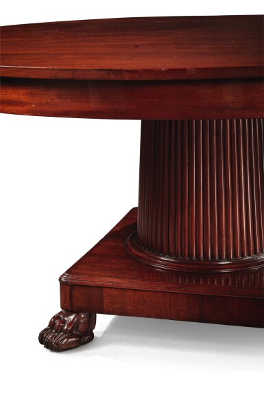 View 8. Thumbnail of Lot 99. A German Neoclassical Mahogany Dining Table, Early 19th Century.
