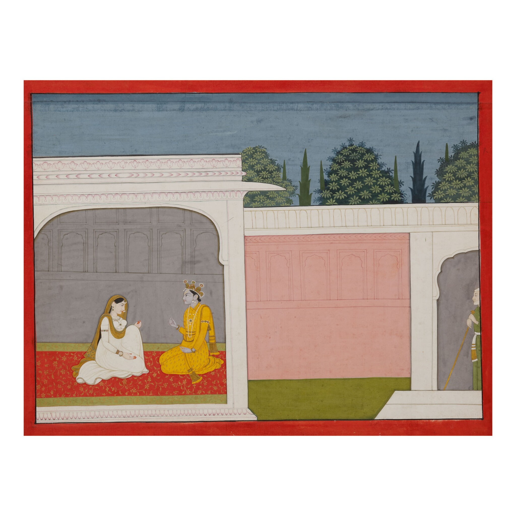View full screen - View 1 of Lot 377.  AN ILLUSTRATION TO A BHAGAVATA PURANA SERIES: SUDAMA WATCHES KRISHNA AND RUKMINI IN CONVERSATION,  INDIA, KANGRA, CIRCA 1800 .