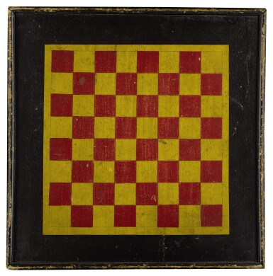 UNUSUAL RED AND YELLOW PAINTED PINE CHECKER GAMEBOARD, LATE 19TH CENTURY