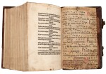 Dutch Prototypographer, Inventory, single sheet, [Utrecht, 1460s], in binding of Eck, Homiliarius, 1536-1540