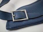 Hermès Massai 32cm Blue Bag of Clemence Leather with Palladium Hardware