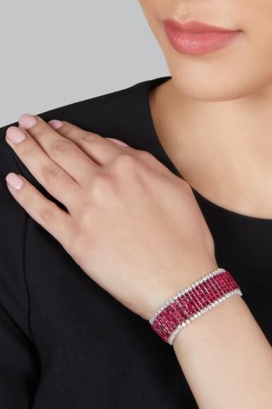 View 3. Thumbnail of Lot 79. Van Cleef & Arpels | Mystery-Set Ruby and Diamond Bracelet.